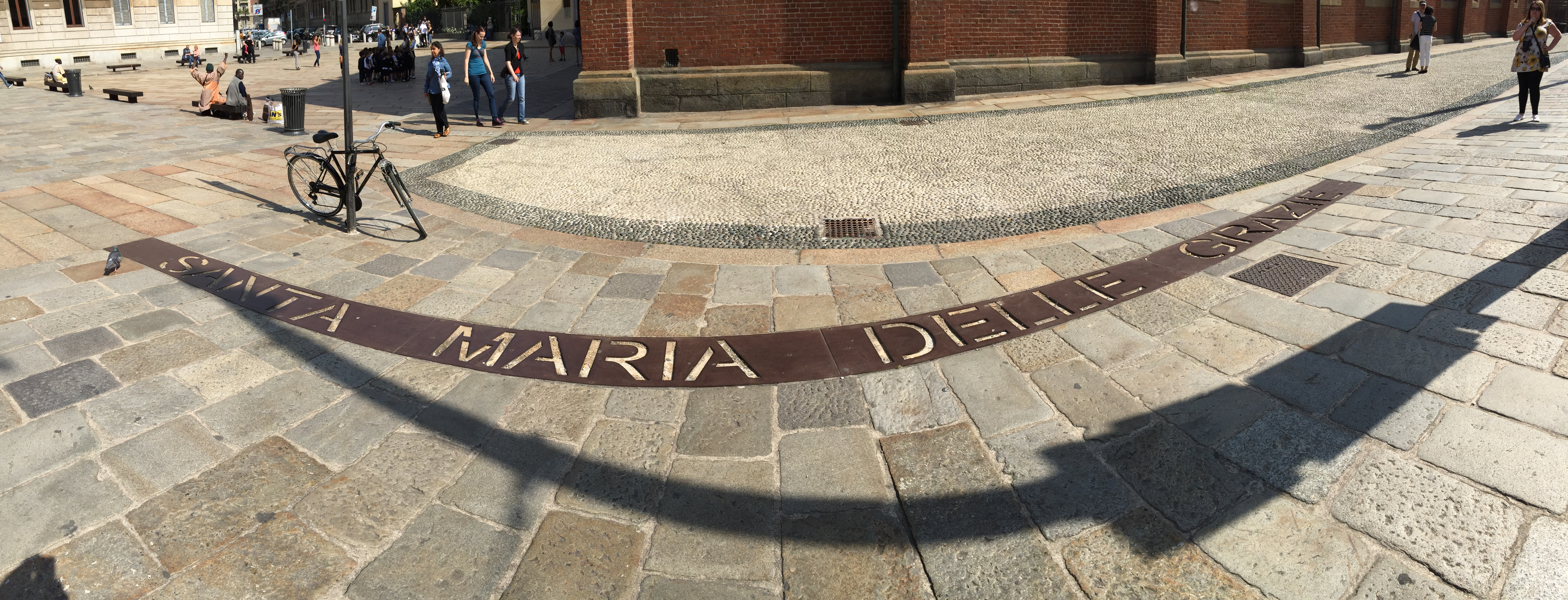 Panoramic of sign on the floor outside Santa Maria Delle Grazie, Milan