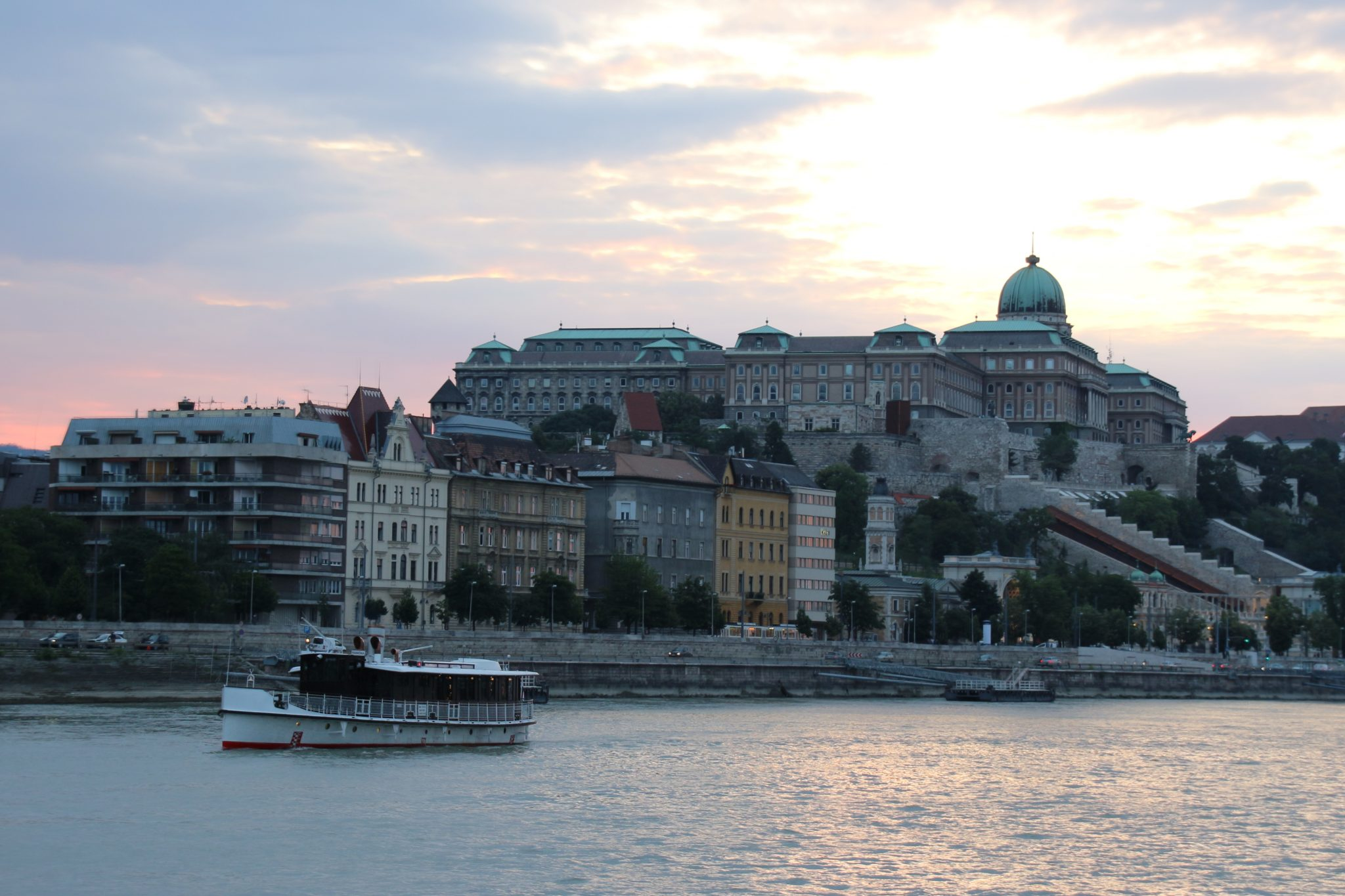 Sunset view of Buda Castle from the Evening Danube River Cruise, Budapest
