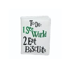 See World, Eat Biscuits Passport Cover from impossibletobuyfor.com