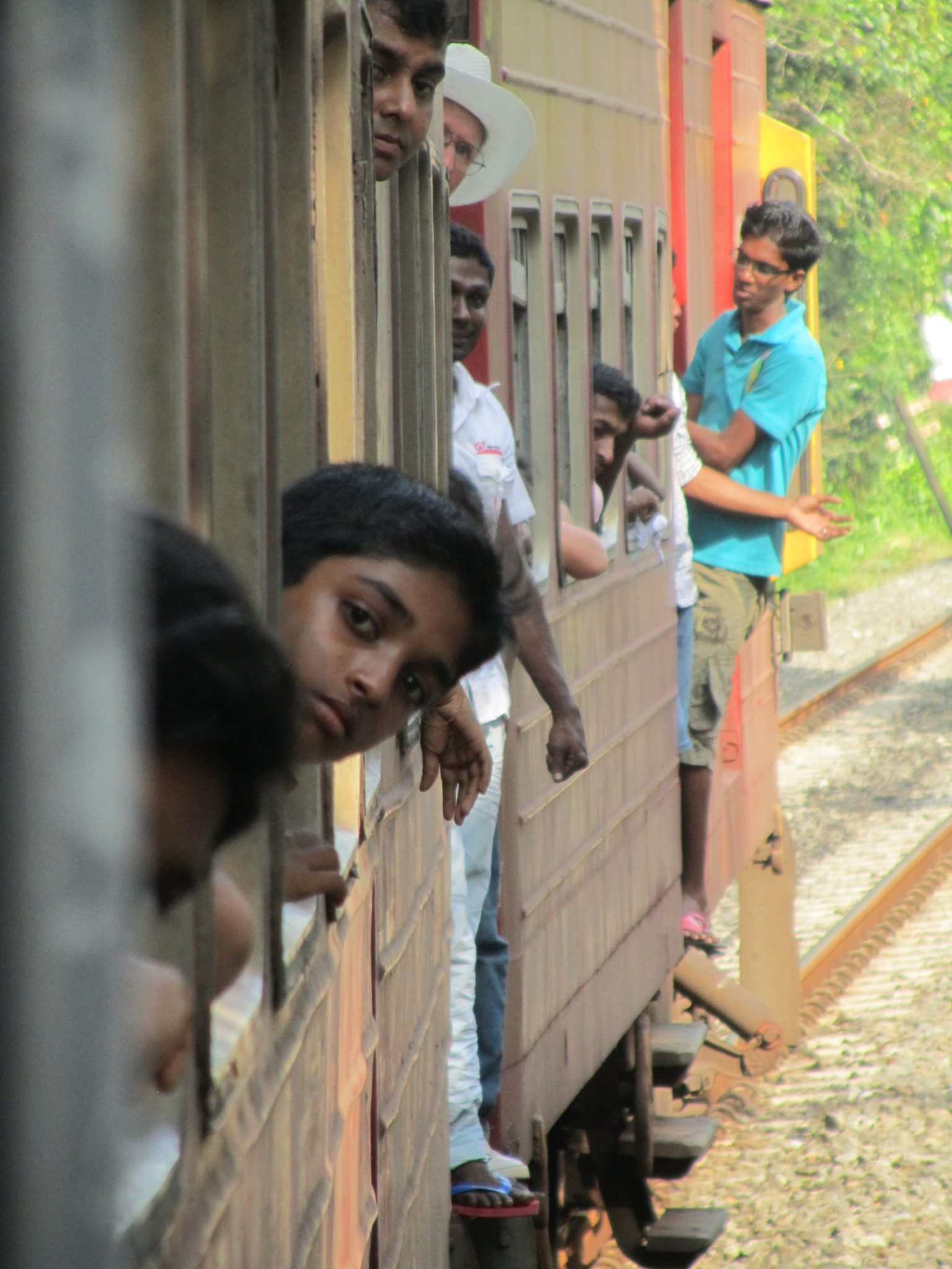 Jam packed train from Aluthgama to Galle