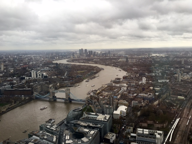 Great view of the River Thames from The View from The Shard