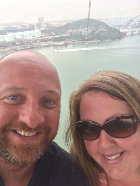 Mr ESLT & I on the cable car over to Lantau
