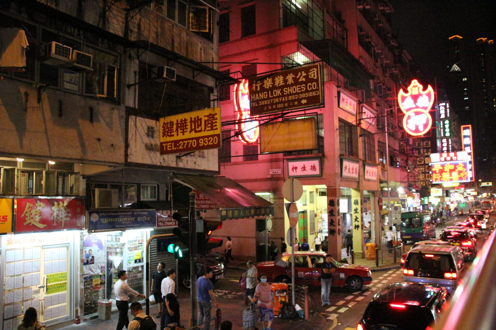 Kowloon street on evening bus tour