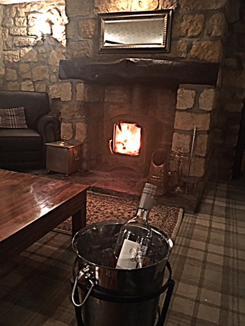 Cozy log burning fire in the bar