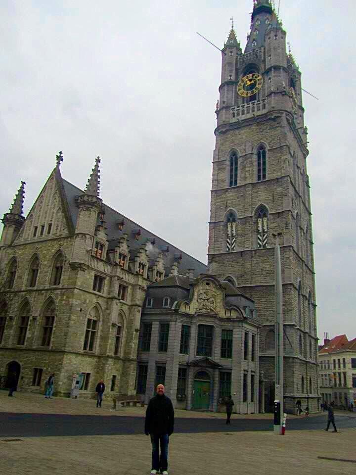 Mr ESLT in front of the Ghent Belfry