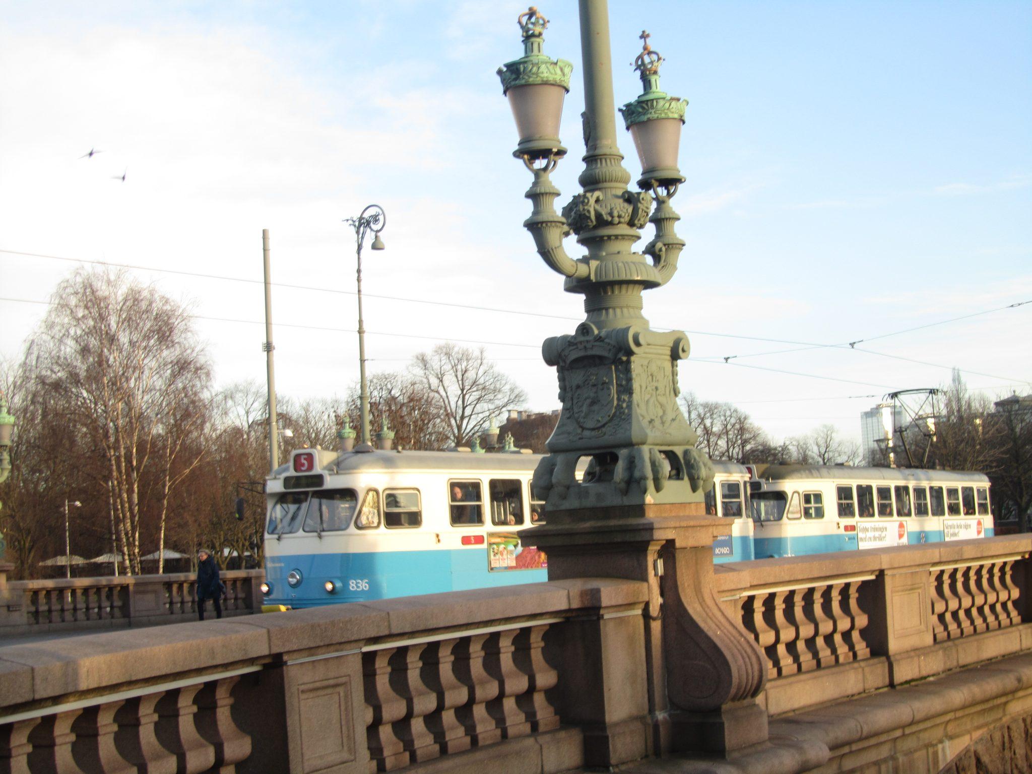 Tram on a bridge in Gothenburg