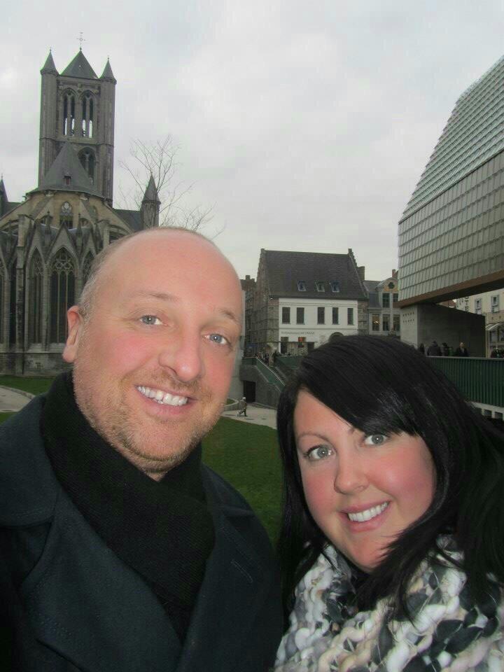 Mr ESLT & I outside St Nicholas Church, Ghent