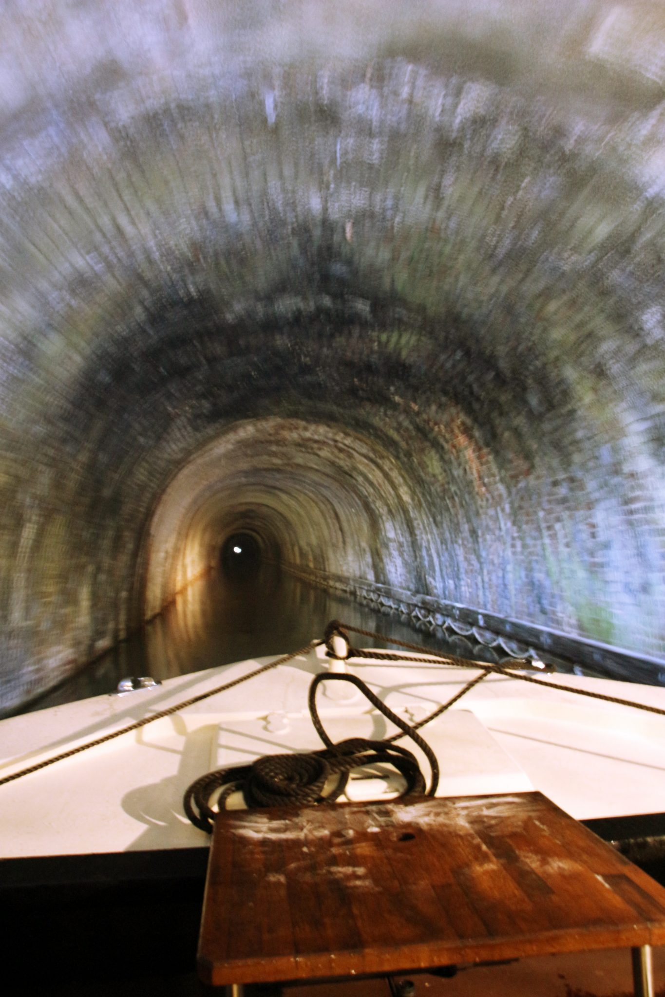 Inside Braunston Tunnel on Hotel Boat Kailani