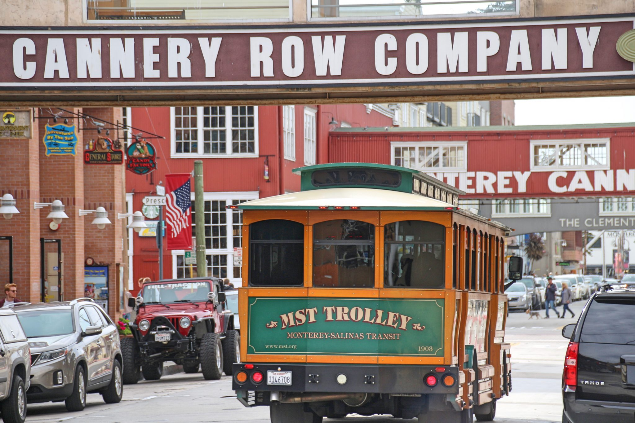 Trolley Bus on Cannery Row, Monterey, California