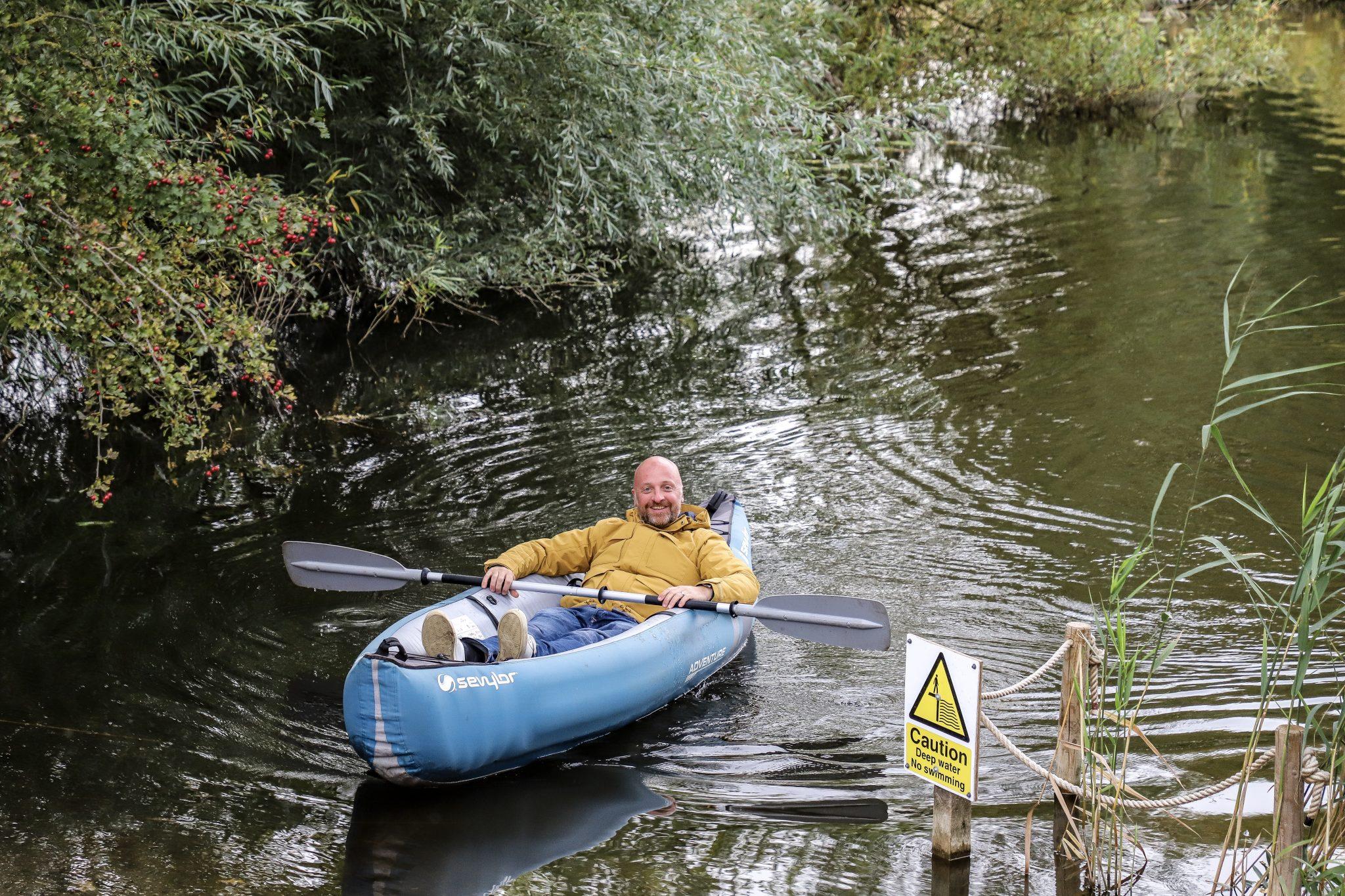Mr ESLT Kayaking at Kingfisher Glamping Site