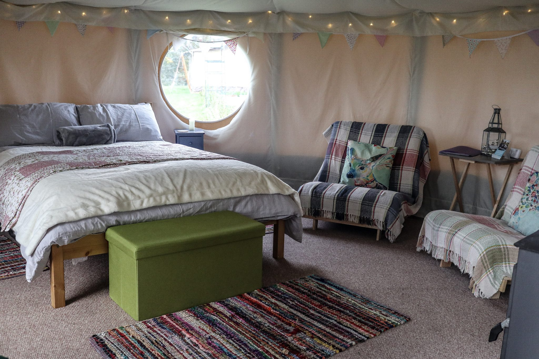 Inside Yurts at Kingfisher Lakes Glamping Site