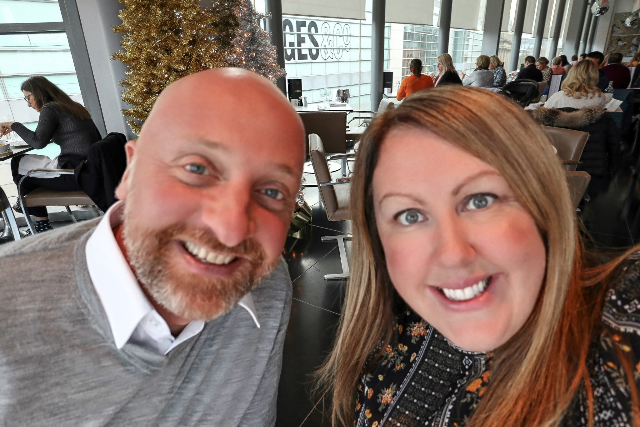 Mr ESLT and I at Harvey Nichols, Manchester