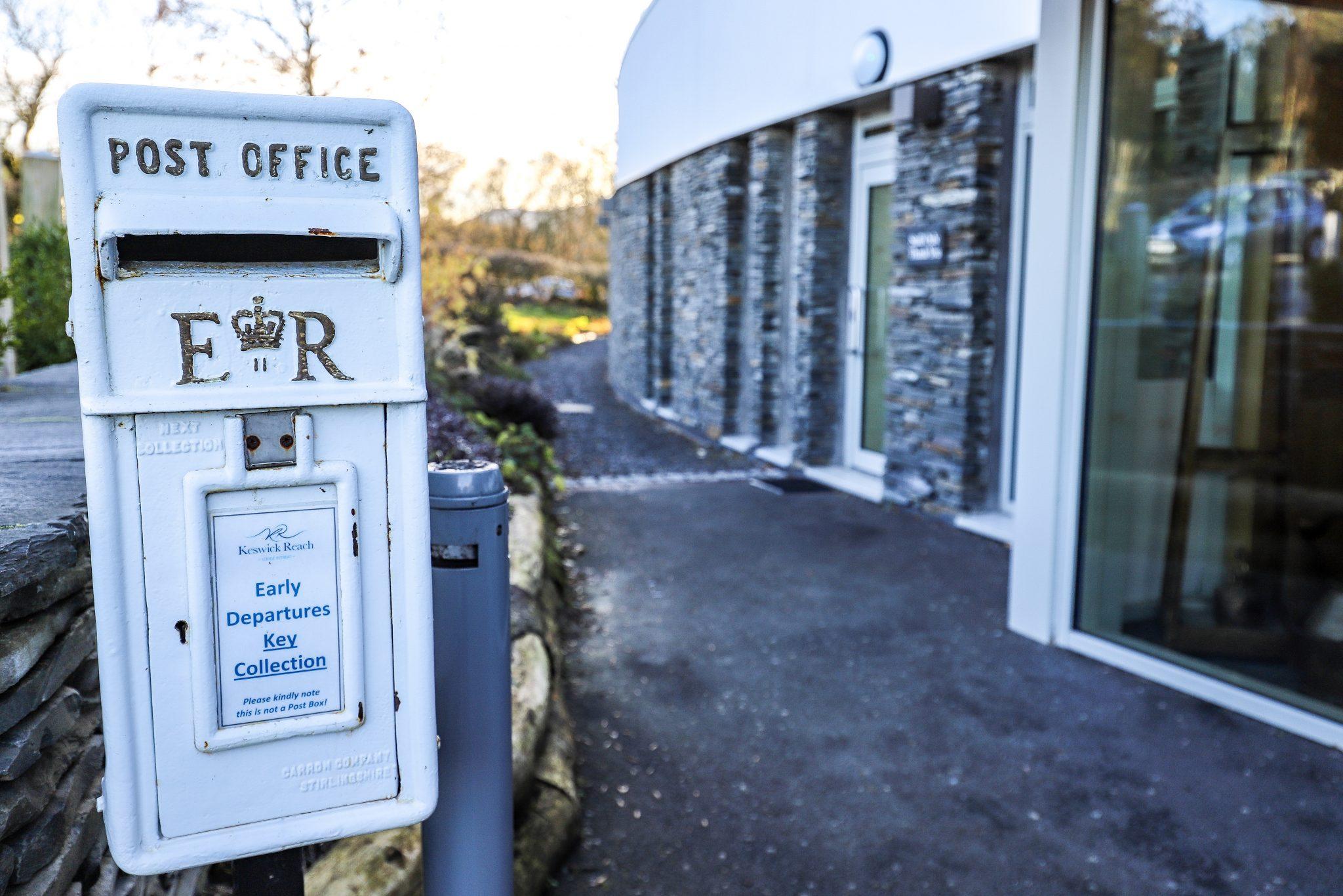 Post box at Keswick Reach Lodge Retreat, The Lake District