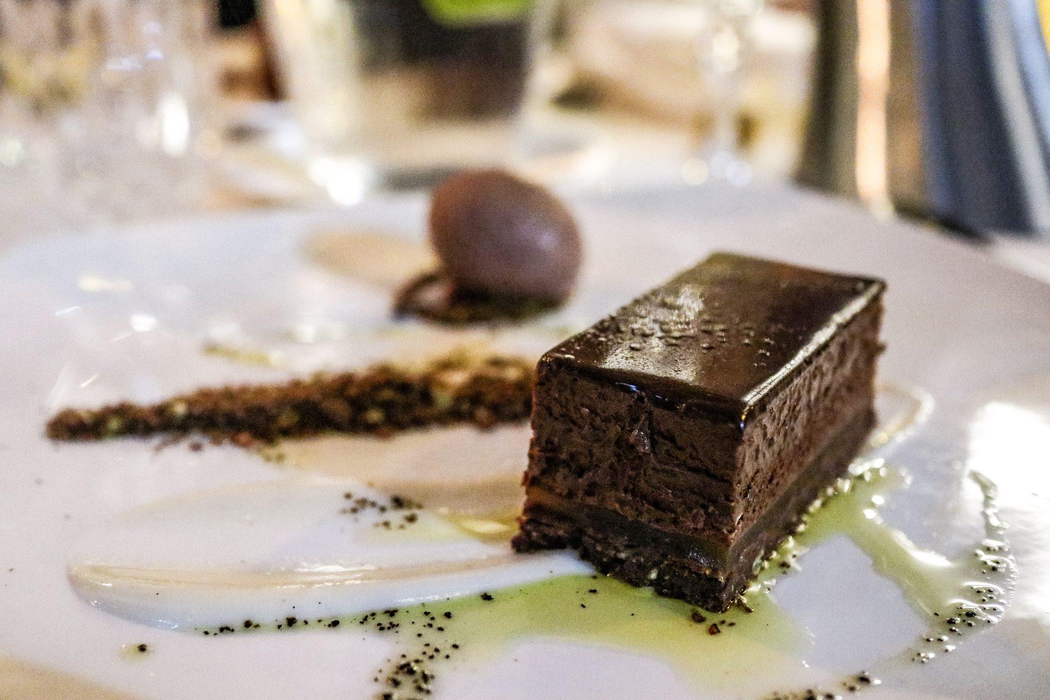 Chocolate burnt citrus pave with milk puree & espresso olive oil