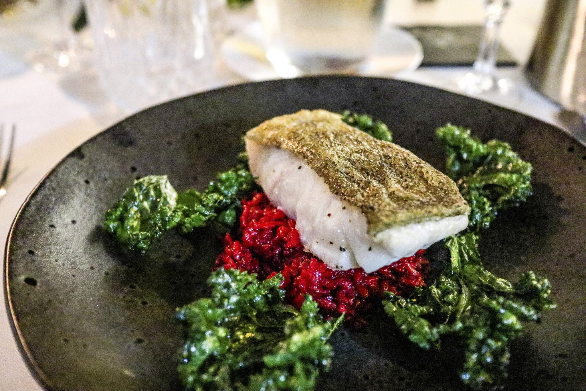 Cod Loin served with beetroot ravioli and crispy Kale (a 'Special of The Day')