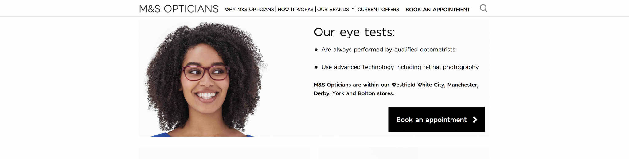 M&S Opticians Screenshot 'Booking Appointment'